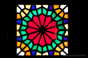 colorful window, lariha house, yazd, iran